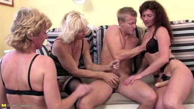 Grannyfucker fucks four mature whores
