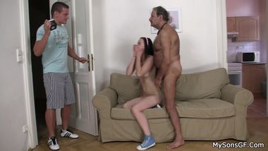 He finds cheating girlfriend riding old cock