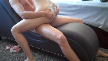 Redhead mom ride on young cock