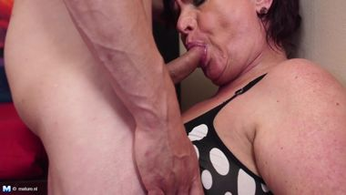 Hungry mature mother takes young cock