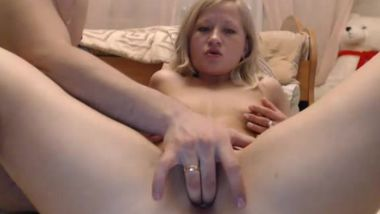 Cute young tight shaved blond fingered and fucked by BF