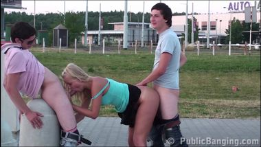 3 teens with a cute young blonde girl PUBLIC threesome sex