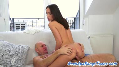 Teenager chick fucks oldtimer