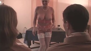 Huguette - Busty French Mature Beauty seduces 2 boyscouts