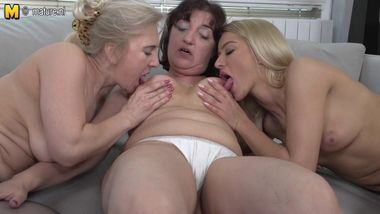 Two mature mothers having sex with daughter