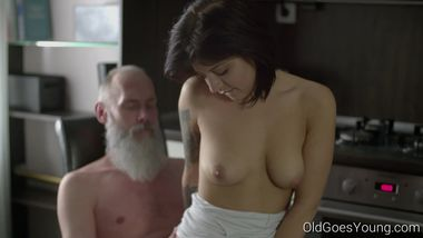 Old Goes Young - Sexy brunette Gerra and her man