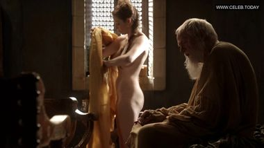 Esmé Bianco - Showing her big boobs & bare butt to old guy Game Of Thrones