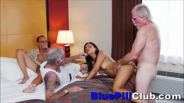 Latina Teen Cockslut Fucks Three Elderly Grandpas