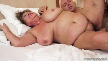 Old fat hairy woman is getting banged hard...