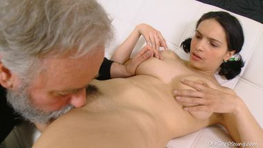 Czech girl cheats her boyfriend with horny old bearded man