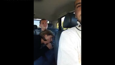 Old Mom Sucking Young Guy Off In The Back Seat