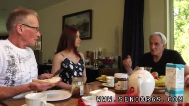 Teen covered in cum Minnie Manga gobbles breakfast with John and David.