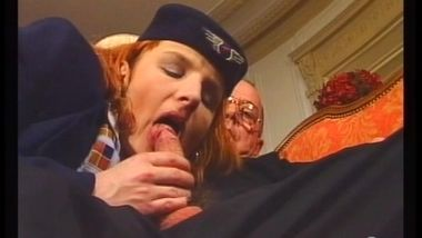 hairy stewardess and old man