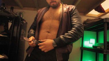 Don Stone in Leather Jacket Strip Tease Hot Hairy Latino