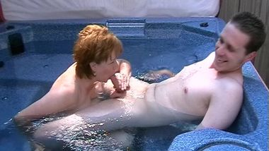 Contest Winner having my mouth in the hot tub with my son filming