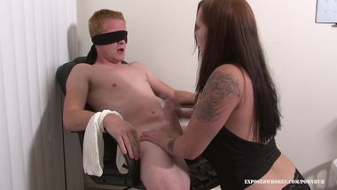 Girlfriend Blindfolds Boyfiend & Gives Him A Handjob & Makes Him Cum Twice