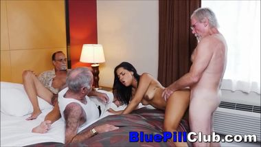 Nikki Kay Latin Teenage Cockslut Fucks Three Elderly Old Grandpas