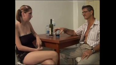 Father fucks daughter in the kitchen in the ass