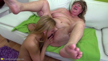 Granny licks and fucks young girl